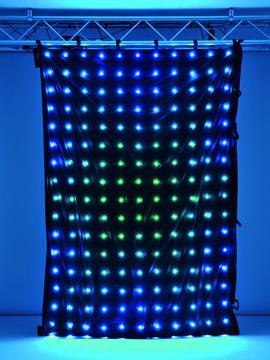 EUROLITE CRT-200 PRO LED-verho  TCL 187, LEDs multicolor sound 3 x 2m DMX.- Musta verho 187 TCL LEDiä.<br /> Helppo kiinnittää, asennussilmukat 20cm. välein.<br /> Sisäänrakennettu mikrofoniohjaus sekä DMX.<br /> Voidaan linkittää useampia peräkkäin. 2-kanavaa ohjaukseen.Leveys 3 metriä, korkeus 2-metriä.<br /> Verhon paino 3,0kg. Ohjaimen paino 1,0kg.