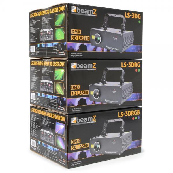 BEAMZ LS-3D RGB Laser valoefekti punainen, sininen ja vihreä laser. Red 300mW, Green 80mW, Blue 400mW, valovoimaiset säteet, DMX-, auto- ja ääniohjaus! Aukeamiskulma 40 astetta. Mitat 218 x 250 x 128mm  sekä paino 2,6kg.