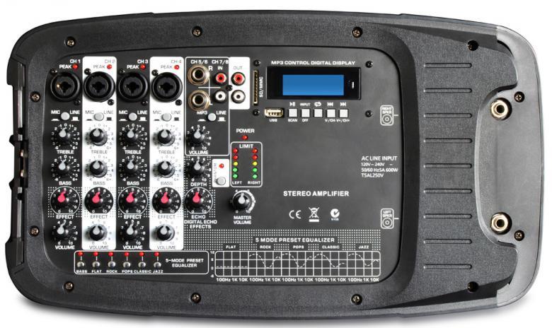 SKYTEC PSS-300 Siirrettävä kaiutinjärjestelmä B-STOCK 8-kanavaisella Mikserivahvistimella, 10