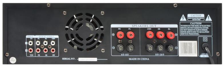 SKYTRONIC AV-340 Karaoke-Surround vahvistin musta 5-Channel  2x 90W + 3x 25WHQ Surround amplifier.- Etupaneelissa USB portti 2 mikrofoniliitäntää (6.3mm plugi), Volume säädöt mikrofonikanavill Kaiku,2kpl audio sisäänmenoa RCA liittimillä (esim. DVD, CD, MP3, Basso, diskantti ja balanssi säätimet etupaneelissa, Lähtöteho 2x90W/ 3x 25, Kaiuttimille ruuviliittimet, Etupaneelissa ohjaus MP3 soittimelle MP3