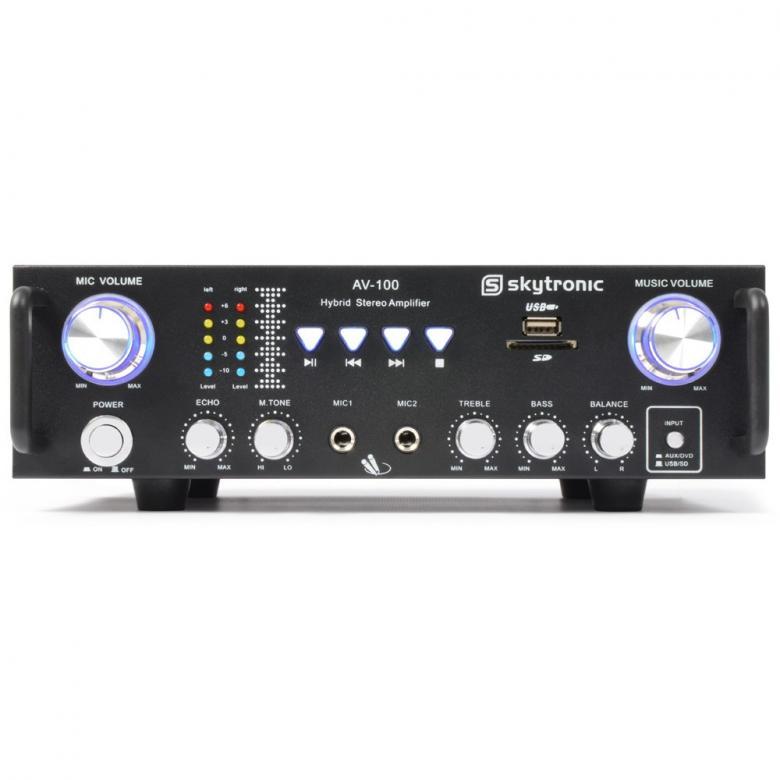 SKYTRONIC AV-100 Mini Stereo Karaoke vahvistin 2x 50W, pienikokoinen karaoke mikseri vahvistin kotikäyttöön! Sis. USB ja SD muistikorttipaikan toistoa varten! Kaksi mikrofoni sisäänmenoa ja kaikulaite! Mitat 280 x 160 x 80mm sekä paino 2,0kg.