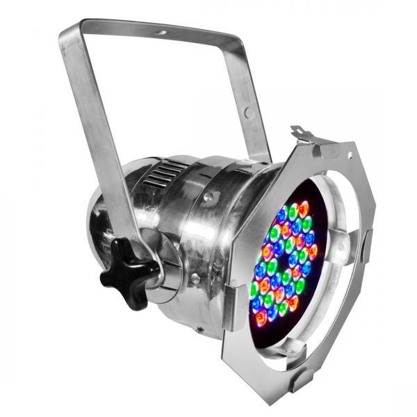 ADJ 4Stage Pak alu DMX LED Par 64, 36x 1W, par kannu setti 4 kpl, tehokas LED PAR heitin 25°. Todella upea 4kpl DmX ohjattavaa alumiinin väristä LED par heitintä upeassa neliväri pakkauksessa. valoa_ja_savua