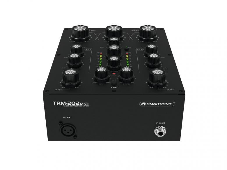 OMNITRONIC TRM-202MK2 kaksikanavainen DJ mikseri kierto säätimillä, 2 Channel rotary mixer.