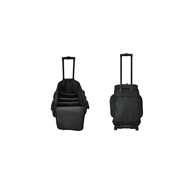 POISTO Eurolite Trolley laukku pyörillä ja teleskooppikahvalla. Sopii mm. tarvikkeille, valoille sekä levyille. Softbag size L with trolley. Mitat 360 x 355 x 550 mm, maksimi paino sisällölle 12kg.