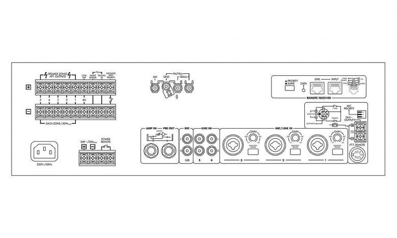 MONACOR PA-1120 120W, 100V Monialue mikserivahvistin, 5-aluetta 120W!