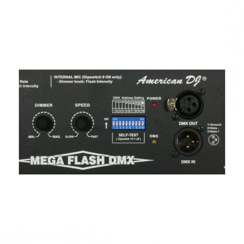 ADJ Mega Flash DMX 800W strobe. Erittäin tehokas DMX strobe PRO versio! Tämä strobo on DMX ohjattava ja kaiken huipuksi toimii myös mikrofonilla joka on sisäänrakennettu. Mitat: 102 x 394 x 216mm ja paino 2.2kg.