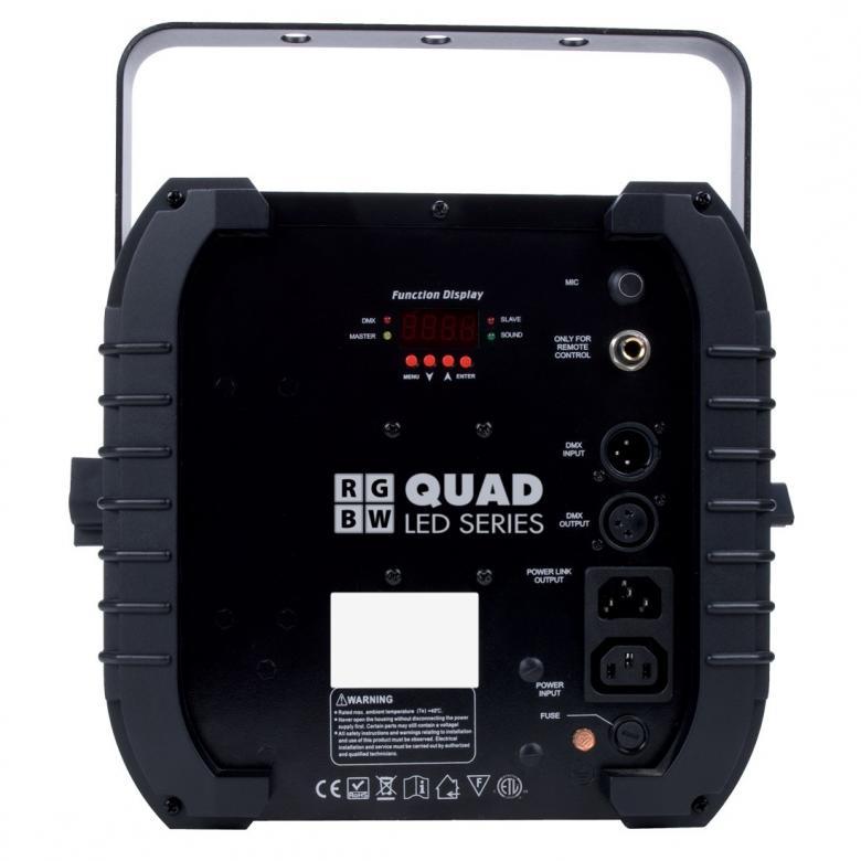 ADJ Quad Phase LED DMX 4-kanavaa. Tehokas LED valoefekti. 160 veitsen terävää valon sädettä. Tehokas 10W nelivärin Quad led! Laadukas linssi takaa huikean ulostulon. RGBW ledit antavat 4-väri shown. Mitat 189 x 306 x 334mm sekä paino 3.8kg.