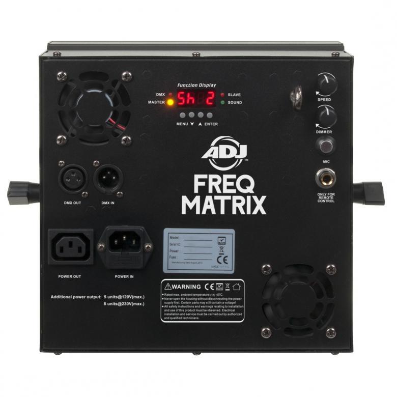 ADJ FREQ Matrix 16-alueinen strobe 16x 5W, LED-toimintonäyttö takapaneelissa, himmennettävä 0-100% manuaalisesti tai DMX:n kautta, välähdysnopeuden säätö manuaalisesti tai DMX:n kautta, kolme toimintatilaa; master/slave, sound active ja DMX-ohjaus.