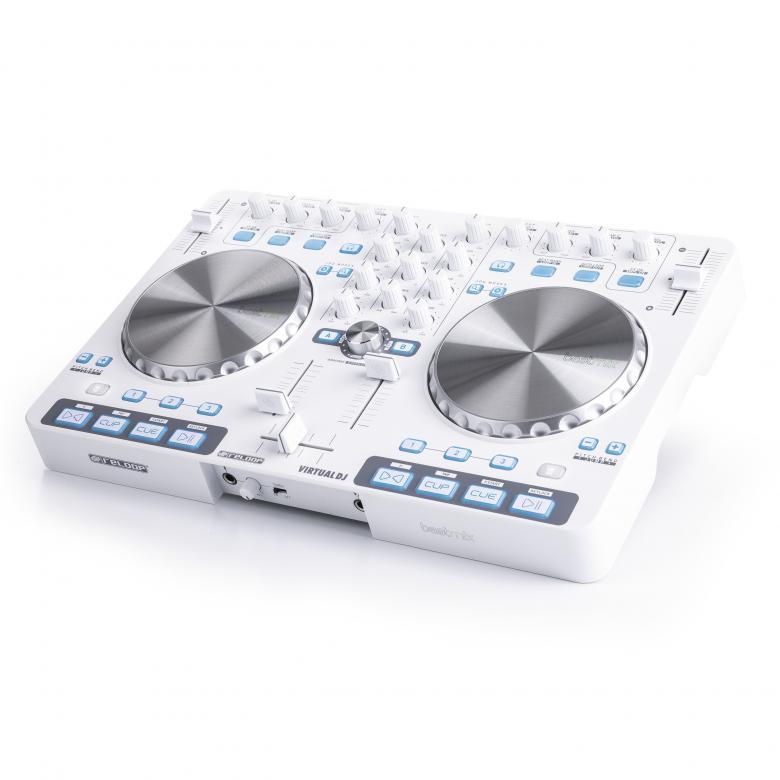 RELOOP BeatMix Ltd DJ-Kontrolleri. valkoinen on varustettu interfacella VIRTUAL DJ LE( limited edition) softalla! Kompakti ja helposti mukana kulkeva BeatMix on helppo yhdistää tietokoneeseesi. Useilla näppäimillä ja ohjaimilla varustetun mikserin käyttömukavuus on parempi kuin näppäimistön ja hiiren käyttäminen. Mitat 420 x 274 x 41mm sekä paino 1,9kg.