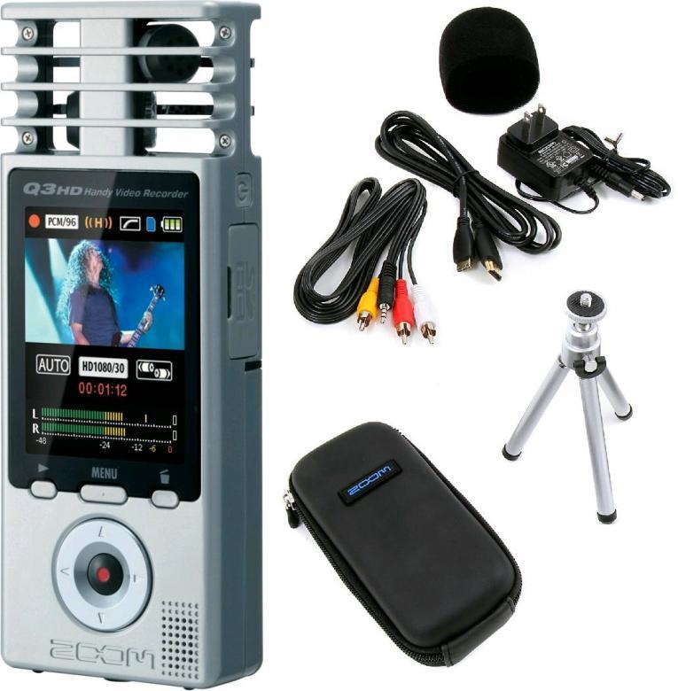 ZOOM Zoom Q3HD Kämmenkokoinen HD-tason kameratallennin 1920 x 1080 MPEG-4, samat mikit kuin H4N:ssä, lisäksi 3,5mm line input. <br /> Zoom Q3HD on HD -tason kameratallennin jossa on samat laadukkaat mikrofonit kuin H4n stereotallentimessa. Q3HD nosti Q3 -kameratallentimen kuvalaadun Full HD mittoihin ja samalla kuvaformaatti muuttui 16:9 laajakuvaksi. Mukaan on asennettu myös ulkoinen Line-In liitäntä ulkoisia äänilähteitä varten ja mini HDMI liitäntä tiedostojen katselua, esim. televisiosta, varten. Q3HD tallentaa SD -muistikorteille ja sen mukana tulee vakiona 2 GB kortti, mutta laite tukee SD kortteja 32 GB asti.