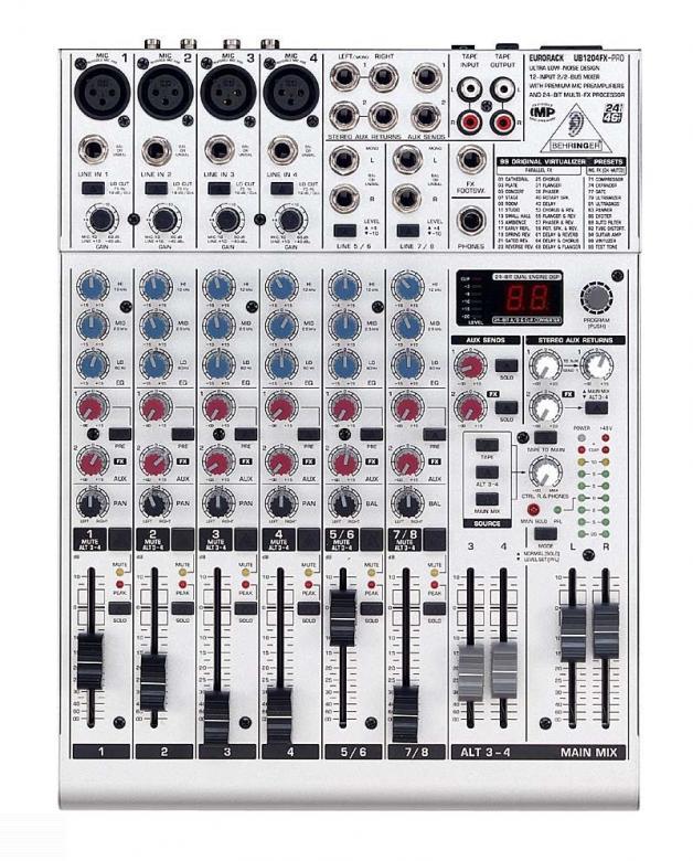 BEHRINGER Eurorack UB1204FX efekteillä Mikseri, 4 mikrofoni sisäänmenoa, 2kpl stereo sisäänmenoa, balansoidut XLR ulostulot. Hieno pikku mikseri liuku säätimillä! 4 mikrofoni etu astetta: State-of-the art mukana• digitaalinen stereo  efekti prosessori, jossa 100 huippu luokan presettiä. IMP