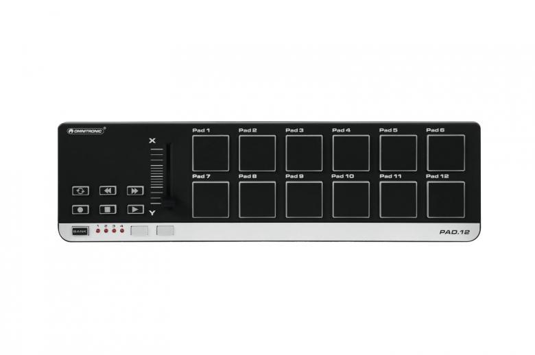 OMNITRONIC PAD-12 MIDI kontrolleri on musiikin tuottajille, tekijöille sekä tiskijukille tarkoitettu ohjain yksikkö. Pienikokoinen ja kulkee näpsästi vaikka laptop laukussa. Erittäin pieni 345 x 97 x 39 mm sekä kevyt 0,47kg.