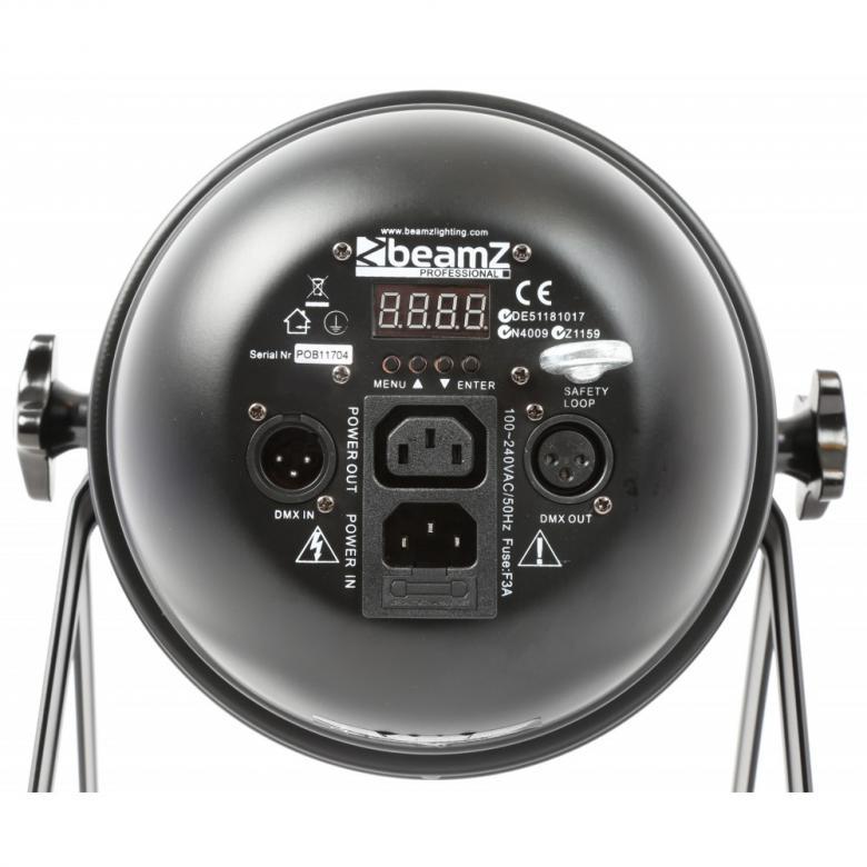BEAMZ LED PAR-64 RGB LED-spotti LATTIAMALLI on Tyylikäs ja tehokas LED-heitin, suosituin malli kokoluokassaan, soveltuu bändeille, discoon, julkisiin tiloihin! LED-floor-spotti 180x 10mm 25°, 30W, black, DMX ohjattava LED-heitin 6-kanavaa. Automatiikalla voi säätää värien feidaus aikaa. Sisäänrakennettu mikrofoni. Voidaan valita dipeillä värit erikseen.