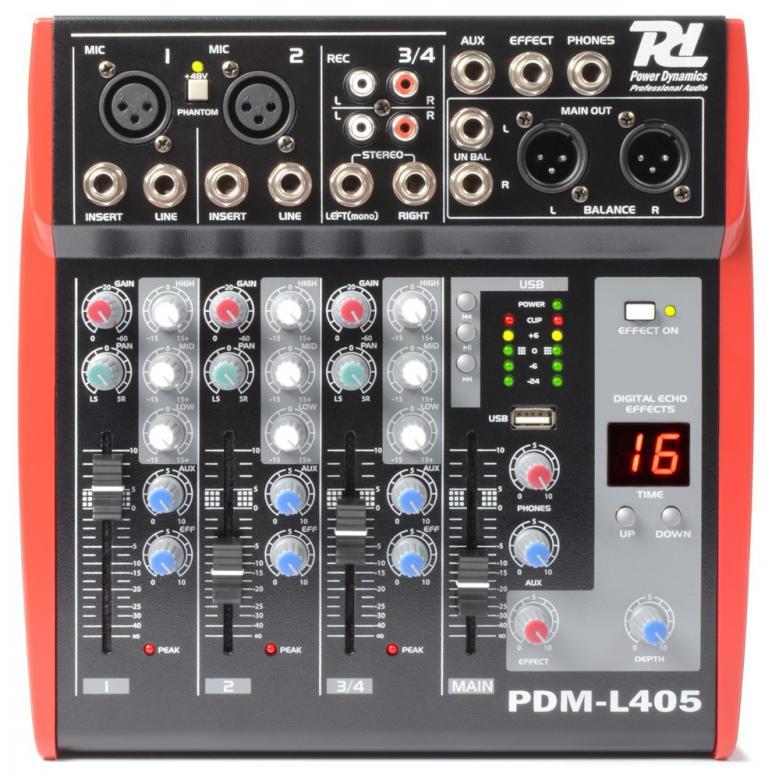 POWERDYNAMICS PDM-L405 4-kanavainen mikseri MP3,USB,SD soittimella! 4-kanavainen mikseri vaikkapa live käyttöön. USB / SD paikat MP3 soittoa varten. Sisäänrakennettu DSP efektigeneraattori. Monipuoliset liitännät, Phantom syöttö, 3-alueinen EQ jokaisella kanavalla. Mitat 245 x 243 x 62mm sekä paino 2.3kg.