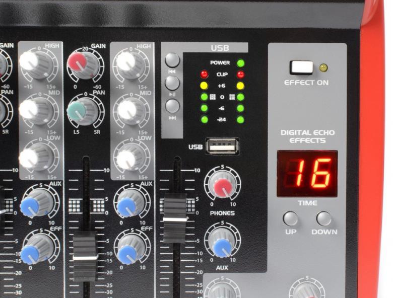 POWERDYNAMICS PDM-L605 MP3 6-kanavainen mikseri MP3-USB-SD soittimella!6-kanavainen mikseri vaikkapa live käyttöön. USB / SD paikat MP3 soittoa varten. Sisäänrakennettu, säädettävä kaiku DSP. Monipuoliset liitännät, Phantom syöttö, 3-alueinen EQ jokaisella kanavalla. Mitat 245 x 323 x 62mm sekä paino 2.65kg.