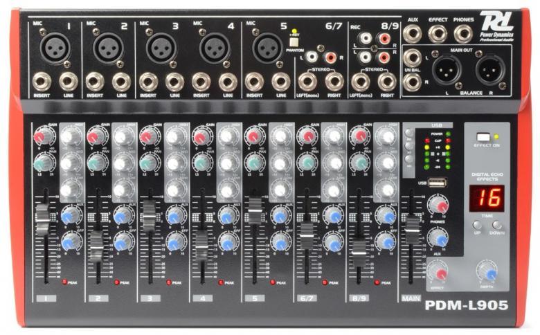 POWERDYNAMICS PDM-L905 9-kanavainen mikseri MP3 / USB / SD soittimella!9-kanavainen mikseri vaikkapa live käyttöön. USB / SD paikat MP3 soittoa varten. Sisäänrakennettu, säädettävä kaiku DSP. Monipuoliset liitännät, Phantom syöttö, 3-alueinen EQ jokaisella kanavalla. Mitat 245 x 403 x 62mm sekä paino 3,2kg.