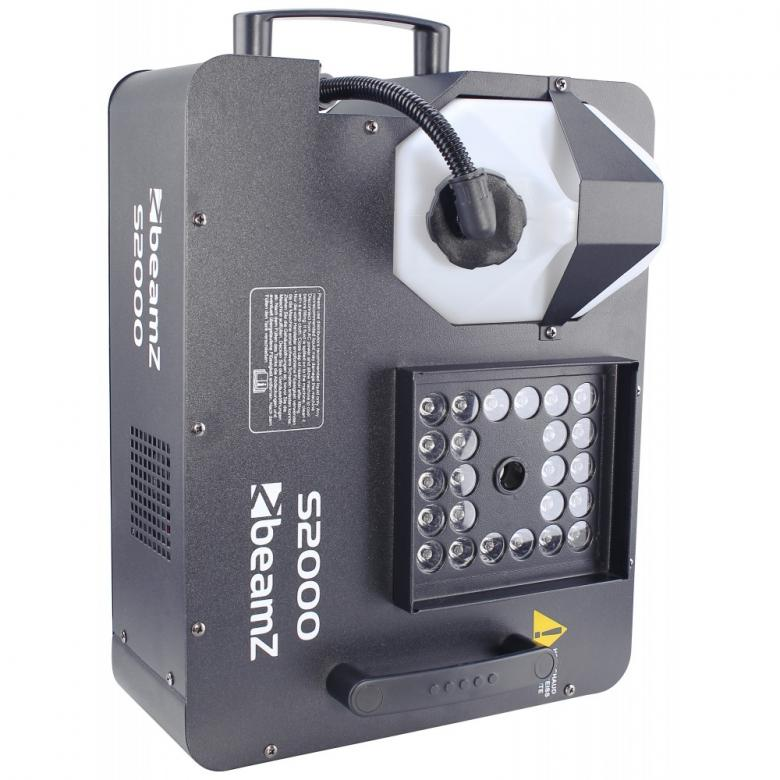 BEAMZ S2000 LED-hybridi suihkulähde savukone, joka on Suihkulähteen lailla savua ylöspäin tai suoraan suihkuttava, savun valaisee 21x 3W LEDiä, DMX-ohjattava tai erillisellä ohjaimella ohjattava. Toimii CO2 nesteellä todella nopeana sekä äkkiä haihtuvana efektinä. Soveltuu jäähalleihin, koripallo halleihin, joukkueiden esittelyyn, clubeihin tms.  Mitat 410 x 320 x 150mm sekä paino 5.9kg.