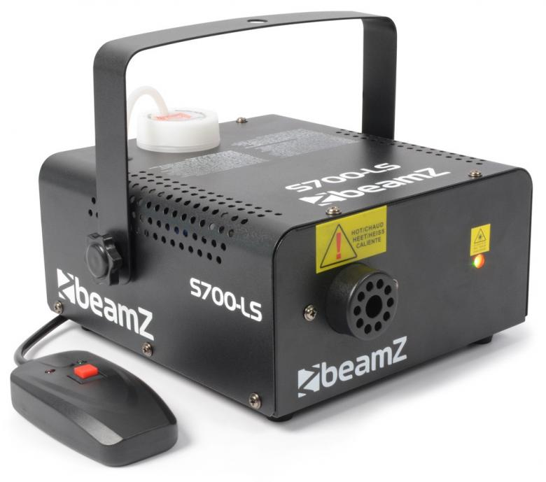 BEAMZ S700-LS Pieni savukone laser vihreä ja punainen. Tuottaa kohtuullisesti savua, 700W:n lämmitin. Lataa neste ja viiden minuutin kuluttua laite on valmiina käyttöön! Tuote soveltuu lähinnä pieniin tiloihin sekä kotibileisiin! Hauska elementti ja kiinnostavuus on taattu! Mitat 245 x 230 x 125mm sekä paino 2,4kg.