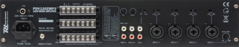 POWERDYNAMICS PDV120ZMP3 120W-100V 4-Aluevahvistin FM viritin neljällä alueella sekä MP3 soittimella ja Radiolla. PA vahvistin yleisvahvistimeksi esim. myymälöihin sekä muihin julkisiin tiloihin. Voidaan kytkeä useita 70-100V kaiuttimia peräkkäin! Toimii myös 4-8ohm kuormalla. 24v akku varmennus, Input 1 on hätä ohitus linja, mukana IR kaukosäädin. Mitat 420 x 320 x 88.8mm.