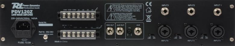 POWERDYNAMICS PDV060Z 60W/100V 4- Aluevahvistin, neljällä alueella sekä MP3 soittimella. PA vahvistin yleisvahvistimeksi esim. myymälöihin sekä muihin julkisiin tiloihin. Voidaan kytkeä useita 70-100V kaiuttimia peräkkäin! Toimii myös 4-8ohm kuormalla. 24v akku varmennus, Input 1 on hätä ohitus linja. Mitat 420 x 320 x 88.8mm.