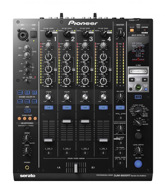 PIONEER DJM-900SRT DJ mikseri serato. Äänikortilla.  Huippuluokan Digitaalinen DJ mikseri, 4-channel Performance Mixer. PRO-DJ-Tuote. DJM-900 nexus on DJM-800-klubimikserin päivitetty ja huomattavasti paranneltu versio, joka nostaa ammatti-DJ:n luovuuden uudelle tasolle. Erinomainen tietokoneliitettävyys, modernit efektit, huippuominaisuudet ja ääni tekevät tästä mikseristä jokaisen modernin ammatti-DJ:n tärkeimmän varusteen. DJM900SRT