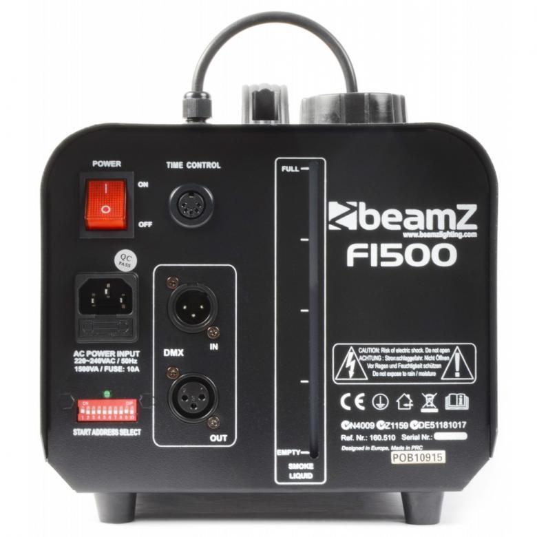 BEAMZ F1500 DMX Fazer savukone ajastimella sekä jatkuvalla tuotolla, hazerin tyyppinen kone joka käyttää normaalia savunestettä.! Laitetta voi ohjata DMX:llä ja manuaalikäytössä laitteessa on mm. ajastin. Heaterin teho 1500W, mitat 510 x 210 x 240mm sekä paino 6.0kg. Savun tuotto 150m3 minuutissa, säiliön koko 2,0L.