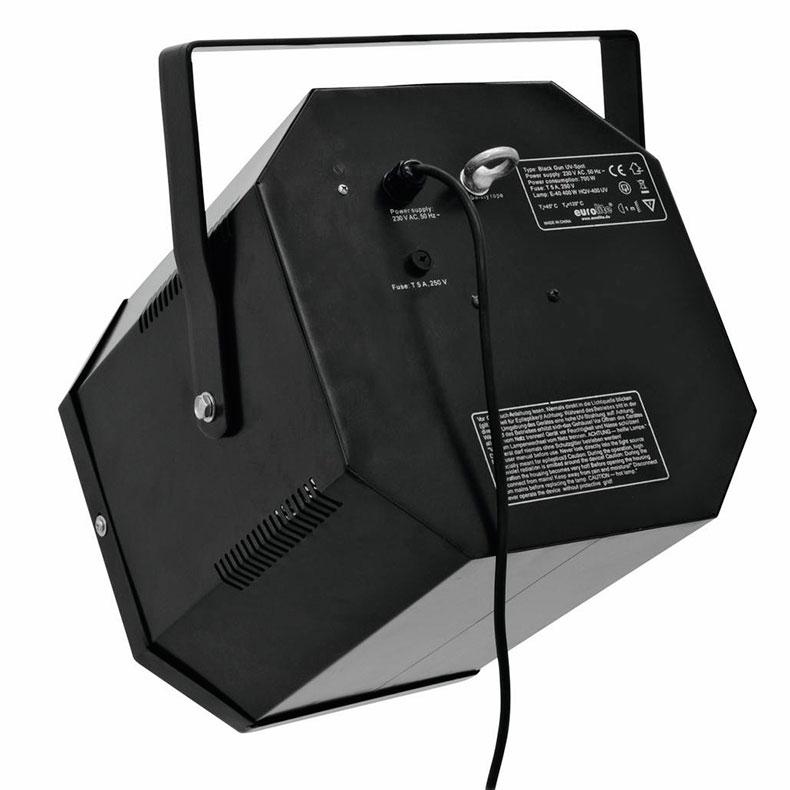 EUROLITE Black Gun PRO UV-spottivalaisin sisältää valaisinrungon ja energiansäästölampun 50W E40. Mitat 355 x 370 x 355 mm, paino 6kg.