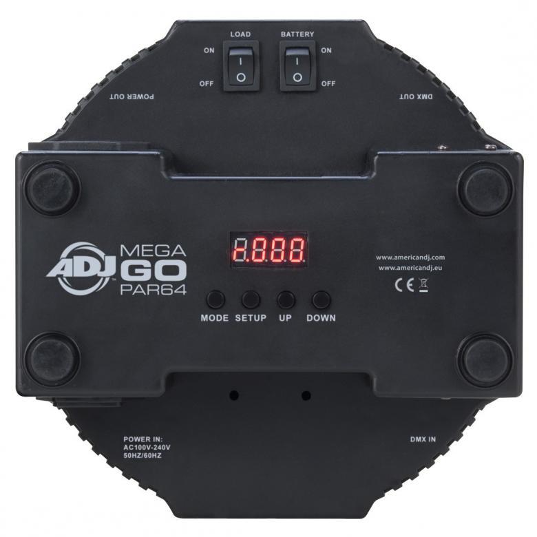 AMERICANDJ Mega GO PAR64 Profile PAR-64 valoheitin varustettu Litium ioni akulla, lataa ja käytä. Aukeamiskulma 30- astetta. 176x 10mm RGB ledit. LED-näyttö menu takapaneelissa, himmennettävä 0-100%, pulssi ja strobe-efekti, DMX, stand alone, master/slave, musiikkiohjaus, langattomasti RC IR-ohjaimella. (myydään erikseen), sisäänrakennetut valo-ohjelmat.