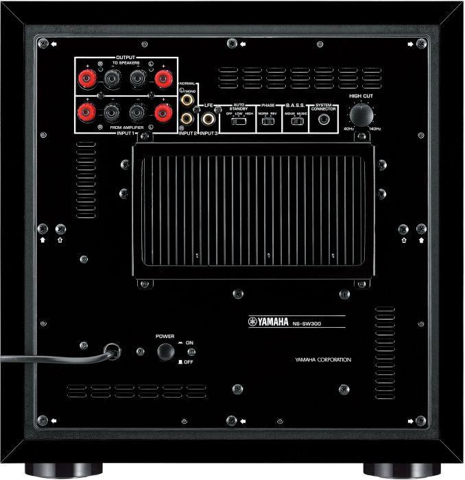 YAMAHA NS-SW300 Aktiivisubwoofer 250W musta matta QD-Bass ohjaus, magneettisuojattu, 20-250 Hz, YST II teknologia, 25 cm elementti, PDM-sarjaa, auto standby, linja sekä kaiutintaso liitäntä, musta.Musiikki ja elokuvat pääsevät oikeuksiinsa vain, jos basso toistuu syvältä ja selvästi.subbarissa käytetään erittäin pitkälle kehitettyjä tekniikoita, kuten Advanced YST- ja QD-Bass-menetelmiä, joiden avulla äänenpaineet ja yleinen äänenlaatu saadaan erinomaisiksi. 250W, mitat 350 x 366 x 420 mm ja paino 18.0kg.