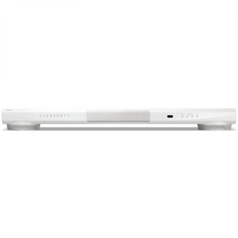 YAMAHA YSP-1400 Digitaalinen ääniprojektori Valkoinen. Yamaha YSP-1400 -kaiutin tuottaa kuuntelijaa ympäröivän surround-äänikentän säätämällä kahdeksan kaiutinelementin suuntaominaisuuksia digitaalitekniikan avulla. Bassotoistosta huolehtii kaksi kaiuttimen jaloista puhaltavaa subwooferia. Kuvaruudun alapuolelle mahtuvan soundbar-kaiuttimen mitat ovat 100 x 9,6 x 13,3 cm ja paino 4,3 kiloa. Television ääni kytketään kaiuttimeen linjatulon tai koaksiaalisen tai optisen digitaalitulon kautta. Puhelimista ja tietokoneesta äänen saa kuuluviin bluetooh-yhteyden kautta. Erilliselle subwooferille on linjalähtö.