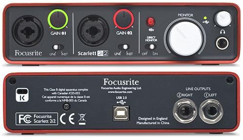 FOCUSRITE Scarlett 2i2, Interface 2in/2out USB-äänikortti kahdella palkitulla Focusrite-etuasteella. Jämäkkä anodisoitu alumiinirunko näyttää tyylikkäältä ja kestää hyvin myös keikkailua. Etupaneelin Neutrik comboliitäntöjä voidaan käyttää esimerkiksi kitaran tai syntetisaattorin liitäntää varten sekä mikrofonin liitäntää varten phantom-virralla. Ainutlaatuinen halomerkkivalo kertoo nauhoitetun signaalin laadun kolmella eri värillä jotta voit säätää sisääntulevan äänen tasoa sopivaksi. Kuulokeliitännällä on oma äänenvoimakkuuden säädin ja direct monitor-kytkin reitittää sisääntulevan äänen suoraan kuulokkeisiin jotta voit monitoroida ääntä ilman latenssia.