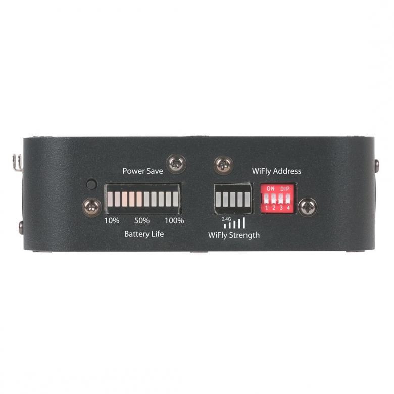 POISTO ADJ WiFly battery langaton DMX Lähetin vastaanotin battery Transceiver. Toimii ADJ Wifly järjestelmän kanssa loistavasti. Sisäänrakennettu akku, jonka kesto 20h, erillinen näyttö akun käyttöajalle. Voidaan käyttää myös ulkoisella virtalähteellä. Mitat 148 x 135 x 62mm sekä paino 0,75kg.
