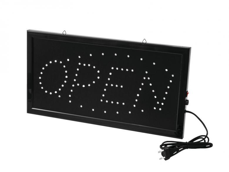 EUROLITE LED OPEN kyltti Classic Todella Kirkas, Mitat 480 x 250 x 35 mm sekä paino 1,0kg. LED OPEN kyltti, jonka kyllä huomaa. Kyltti on helppo ripustaa mukana olevan kettingin avulla. Mahtava tapa lisätä myyntiä elävällä open kyltillä. Sininen ja punainen led liikkuvalla tehostuksella. Mitat 480 x 250 x 35 mm sekä paino 1,0kg.