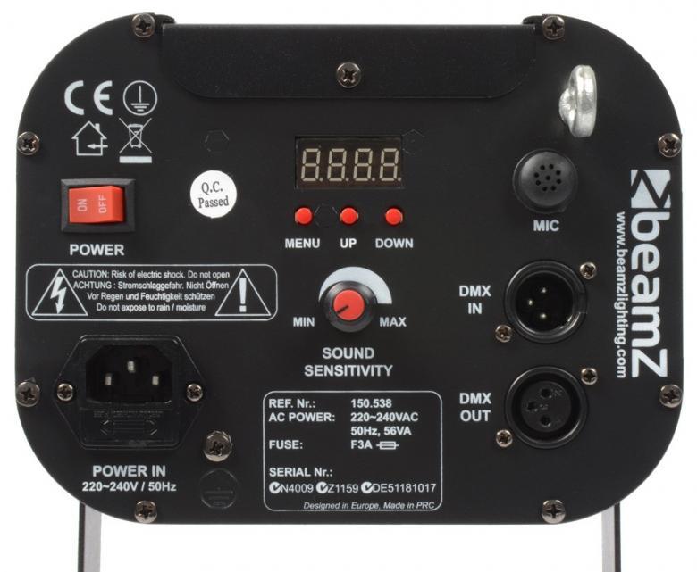 BEAMZ IntiBar 300 barrel 30W LED DMX Varustettuna 30W LEDillä Intibar barrel valoefekti joka heijastaa kuvioita liikkuvan peilin avulla. Kirkas LED tarjoaa vaikuttavan ilmavia efektejä ja teräviä valosäteitä, peittäen laajan alueen. Automatiset ja ääni-aktivoidut ohjelmat voidaan helposti käynnistää DMX:llä, stand-alone moodissa tai antaa esi-ohjelmoitujen efektien tehdä työtään. Laite voidaan linkittää Master/slave moodiin. Gobot 8kpl. Mitat 480 x 250 x 145mm sekä paino 5,0kg.