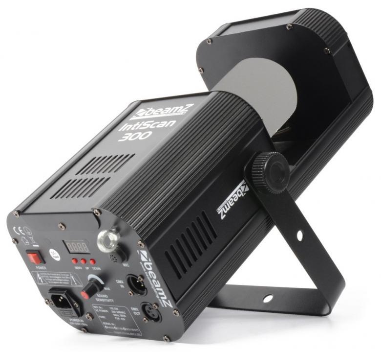 BEAMZ IntiScan 300 Scanner 30W LED DMX Valkoinen LED+ värikiekko. Varustettuna 30W LEDillä Intiscan scanneri valoefekti joka heijastaa kuvioita liikkuvan peilin avulla. Kirkas LED tarjoaa vaikuttavan ilmavia efektejä ja teräviä valosäteitä, peittäen laajan alueen. Automatiset ja ääni-aktivoidut ohjelmat voidaan helposti käynnistää DMX:llä, stand-alone moodissa tai antaa esi-ohjelmoitujen efektien tehdä työtään. Laite voidaan linkittää Master/slave moodiin. Aukeamiskulma 13°, gobot 8kpl. Mitat 440 x 260 x 220mm sekä paino 5,0kg.
