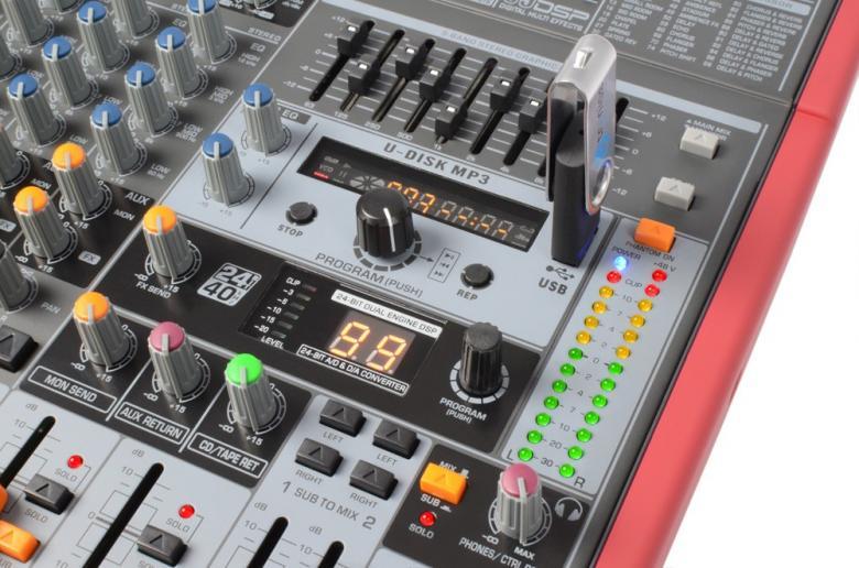 POWERDYNAMICS PDM-S1203 12-kanavainen mikseri MP3 / USB / SD soittimella!12-kanavainen mikseri vaikkapa live käyttöön. USB / SD paikat MP3 soittoa varten. Sisäänrakennettu, säädettävä kaiku DSP. Monipuoliset liitännät, Phantom syöttö, 3-alueinen EQ jokaisella kanavalla sekä 9-alueinen master EQ. Mitat 360 x 390 x 105mm  sekä paino 4.5kg.