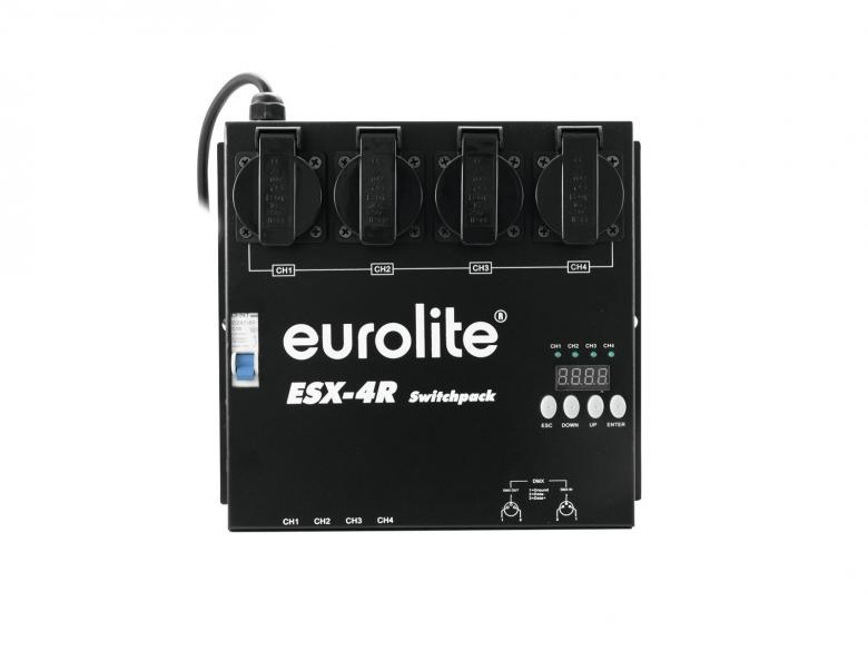 EUROLITE ESX-4R DMX-ohjattava RDM:ää tukeva kytkinpakki, jolla voi kytke virran päälle tai pois 230V-laitteista, neljä kanavaa a'1150W, max kuorma 3680W. (RDM tekee DMX-järjestelmän kaksisuuntaiseksi. RDM mahdollistaa laiteasetusten ja DMX-osoitteiden muokkaamisen etänä, niin ettei varsinaiseen laitteeeseen tarvitse fyysisesti koskea. DMX-ohjattava laite täytyy tietysti olla RDM:ää tukeva). Mitat 270 x 260 x 95 mm, paino 3,0kg.