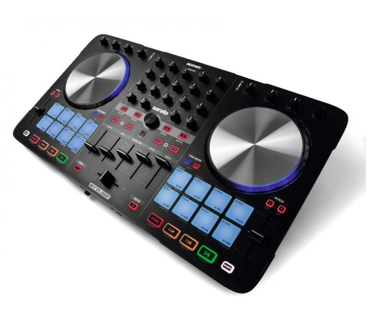 RELOOP BeatMix 4 DJ-Kontrolleri neljällä kanavalla Kontrolleri on varustettu Serato DJ Intro softalla. Todella hieno DJ kontrolleri isoilla JOG wheel haku scratch pyörillä. Kompakti ja helposti mukana kulkeva BeatMix on helppo yhdistää tietokoneeseesi. Useilla näppäimillä ja ohjaimilla varustetun mikserin käyttömukavuus on parempi kuin näppäimistön ja hiiren käyttäminen. 558 x 317 x 41 mm sekä paino 2.7kg.