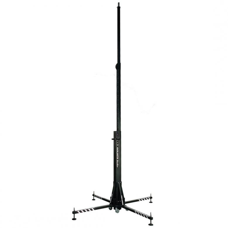 DURATRUSS DT ST-5000P trussi-, kaiutin- tai valoteline vinssillä, max. korkeus 5,0m, max. kuorma 150kg. Mobile steel-stand, Ideal for mobile, professional lighting-systems or PA-systems.