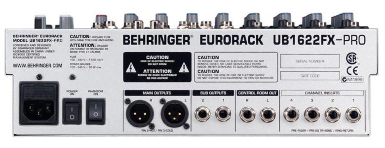 BEHRINGER Eurorack UB1622FX efekteillä Mikseri, 4 mikrofoni sisäänmenoa, 4kpl stereo sisäänmenoa, balansoidut XLR ulostulot. Hieno mikseri liuku säätimillä!• 4 mikrofoni etu astetta: State-of-the-art IMP