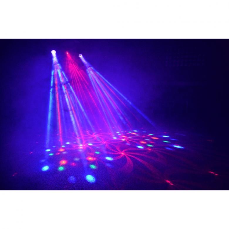BEAMZ 3-Some Light Set Laser+ 2x 57 RGBW LEDs. Kolmen valon kimppa! Tässä 3-Some valoefektissä on 2 LED sädekimppuefektiä jotka on helppo asentaa mukana tulevaan T-tankoon. Kaikki 2 laitetta sekä Laser voidaan suunnata erikseen ja niitä ohjataan, musiikin herkkyyden sekä ohjelmien mukaan(sisään rakennettuja). Molemmissa spoteissa on 57 RGB LEDiä suurella valontuotolla ja laserissa 70mW vihreä ja 100mW puneinen laser ja ne pystyvät tuottamaan hienoja kuvioita. Helpon käytön takaamiseksi laitteet toimivat myös sisäisillä ohjelmilla tai ääni-ohjattuina. T- Bar sopii BEAMZ-valostandeihin joten 3-some on täydellinen ratkaisu millä tahansa keikkareissulla. Virtalähde: 220-240Vac / 50Hz, Mitat: 838 x 89 x 318mm, Paino: 3,7kg (per unit)