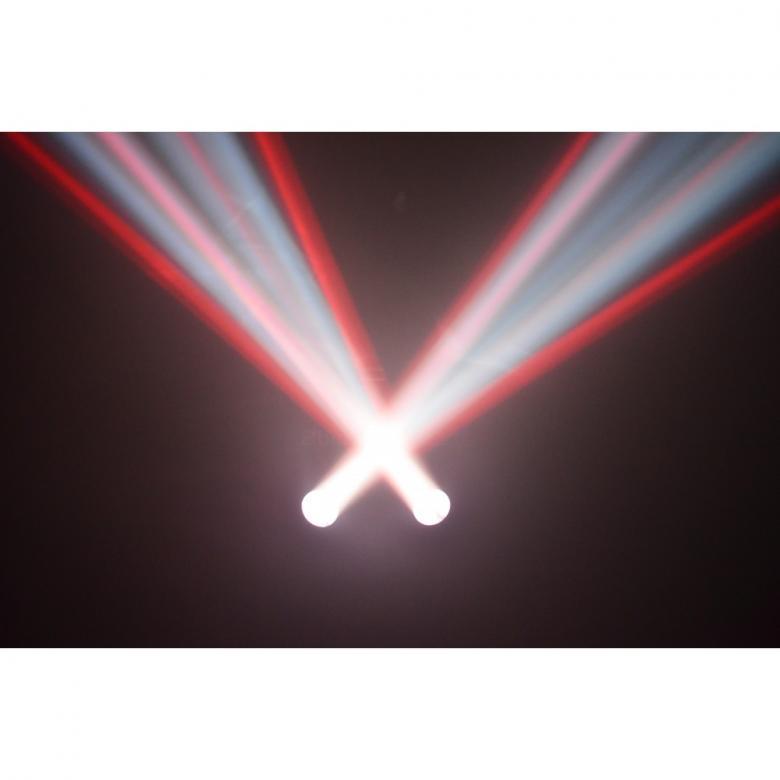 BEAMZ 2-Some LED-valosetti 3x57 RGBW LEDs. Kahden valon kimppa! Tässä 2-Some valo-efektissä on 2 LED sädekimppuefektiä jotka on helppo asentaa mukana tulevaan T-tankoon. Molemmat laitteet voidaan suunnata erikseen ja luoda kauniita valo-ohjelmia. Jokaisessa laitteessa on 57 RGB LEDiä suurella valontuotolla ja ne pystyvät tuottamaan hienoja kuvioita. Helpon käytön takaamiseksi laitteet toimivat sisäisillä ohjelmilla tai ääni-ohjattuina. T-Bar sopii kaikkiin BEAMZ-valostandeihin joten 2-some on täydellinen ratkaisu millä tahansa keikkareissulla. Mitat: 430 x 110 x 410mm Paino: 3.25kg