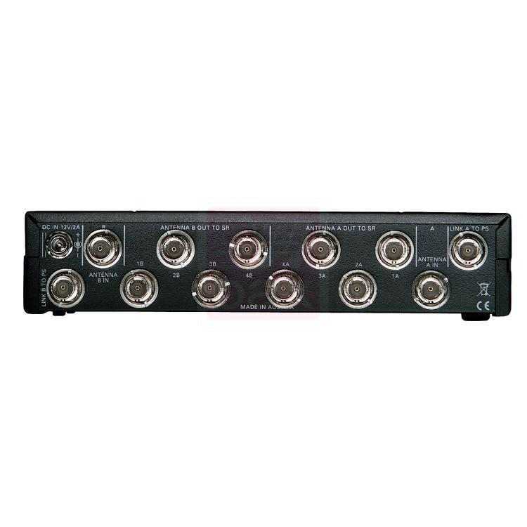 AKG PS4000 antenni splitteri, WMS420, WMS470, DMS700 sarjoille soveltuva antennijakaja, tällä setillä saat jaettua settejä lisäantennia varten. Tarvitsee eirllisen lisäantennin RA4000 tno:502050.