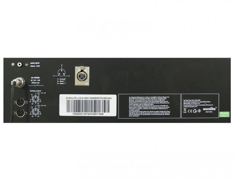 POISTO EUROLITE LCD-8 DMX Himmennin ohjain 8-DMX tai analoogi kanavaa. Voidaan käyttää sekä analogi- ja dmx-ohjaimena. DMX 3-pin sekä 0-10V ulostulo 8-pin DIN liittimen kautta. Ei sisällä himmennintä. Mitat 483 x 132 x 65 mm sekä paino 2,2kg.