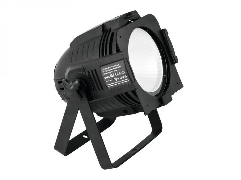 EUROLITE LED ML-56 valonheitin 100W RGBAW COB LED 39°, musta, staattiset värit, RGB-värisekoitus, himmennin ja strobe-efekti DMX:n kautta, sisäänrakennetut ohjelmat, musiikkiohjaus, DMX-ohjaus tai stand-alone, master/slave. Mitat 255 x 290 x 320 mm sekä paino 3,0kg.