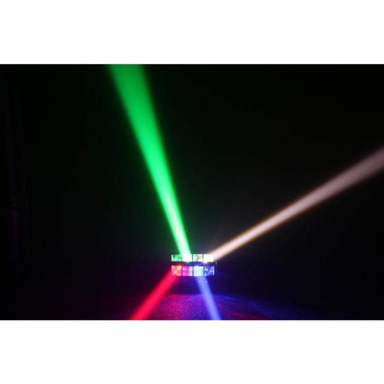 BEAMZ MHL820 Double helix 8x3W Quad LED on suosittu LED efekti Muotoilunsa ansiosta Sweeper tuottaa laajan levityksen. 8x 3W CREE LEDs ovat kirkkaita ja voimakkaita. 2, 9, 11, 12, 16 or 18-kanavan moodissa jokaista LEDiä voidaan kontrolloida erikseen. Ideaalinen käytettäväksi etuvalona lavoilla, disco asennuksesta ja liikuteltavissa ratkaisuissa.Mitat: 28,3 x 15,1 x 11cm Paino: 2.5kg