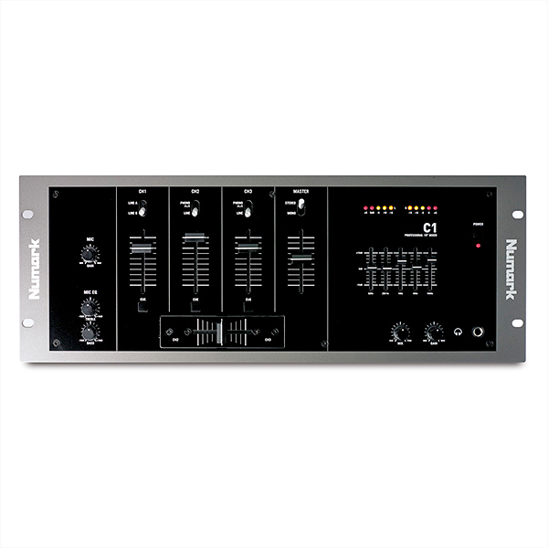 NUMARK C1 Three-Channel Rack Mixer with Mic Input, 3-kanavainen perusräkkimikseri 19