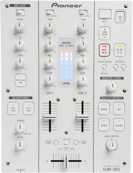 PIONEER DJM-350W DJ mikseri. Valkoinen, DJM-350-mallissa on huippuluokan klubituotteille tyypillisiä ominaisuuksia, kuten tehokkaita, luovia efektejä, sekä uusia ainutlaatuisia ominaisuuksia, kuten USB-nauhoitusmahdollisuus, 2-Channel DJ Performance Mixer USB, PRO-DJ-Tuote! DJM-350:n USB-portin avulla voit nauhoittaa suoraan USB-muistilaitteelle ilman tietokonetta tai nauhoituslaitetta. <br /> Musiikki tallennetaan huippuluokan WAV-tiedostoina ja voit lisätä raitamerkintöjä samalla, kun toistat musiikkia suoraan mikserillä. <br /> Kun olet valmis, voit helposti tuoda miksauksiasi tietokoneellesi ja muokata niitä jälkimiksauksina.