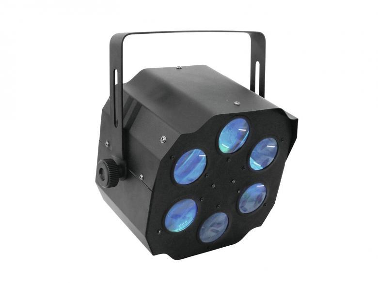 EUROLITE LED Flower-efekti FE-800 RGBAW. Tämä Flower-Efekti Ei Jää Huomaamatta.Voit käyttää laitetta DMX 4-Kanavaa tai Stand alone modesssa. Loistavaa valotehoa uudessa hintaluokassa! Uudet LED efektit korvaavat perinteiset Flower efektin monipuolisuudellaan. Nämä laitteet soveltuvat semi pro sovelluksiin esimerkiksi ravintolaan, jossa käyttö on 2-3 kertaa viikossa. Pitkä LEDien käyttöikä 50000-100000 tuntia, ei lamppujen vaihtoa! Myös keikkailevat tiskijukat sekä clubit voivat ottaa helposti tämän tyyppiset valot käyttöönsä.  Kytke vain virta ja monipuoliset musiikin kanssa ohjatut ohjelmat saavat tanssilattiasi elämään!