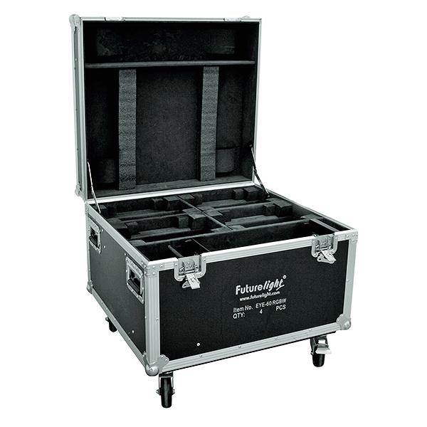 OMNITRONIC Kuljetuslaatikko neljälle, pyörillä. Moving Headille. Flightcase for 4x EYE-60, with castors